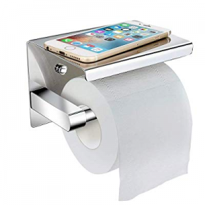One Day Only!LOBKIN Toilet Paper Holder with Phone Shelf Wall Mounted now 66.0% off , Adhesive Toi..