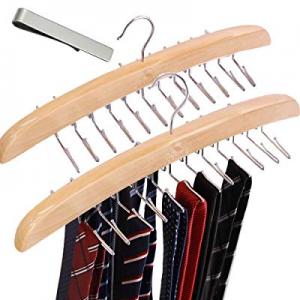 One Day Only!50.0% off VEHHE Tie Racks Tie Hanger 2 Pack Wooden Blet Hangers Holder Hooks Organize..