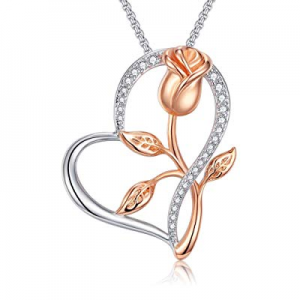 One Day Only!Klurent Heart Rose Pendant Necklace now 50.0% off , 14K White Gold and Rose Gold 5A C..