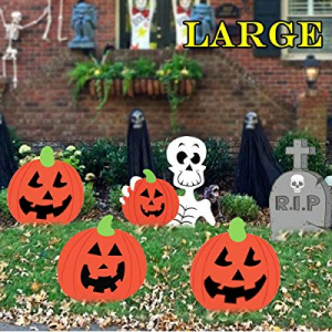 DQFAQYY Halloween Yard Stake Signs Outdoor Indoor Decorations Extra Large Waterproof Pumpkins Skel..