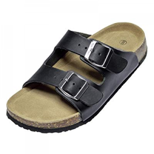 40.0% off Fashion Leather Classic Two-Strap Sandals for Women Casual Cork Flat Sandals Anti-Skid f..