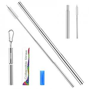 Telescopic Reusable Straws - OOU Portable Stainless Steel Metal Straws now 70.0% off , BPA-Free FD..