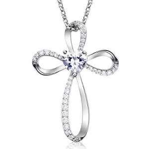 One Day Only!Klurent Infinity Love Pendant Necklace 5A Heart Shape Cubic Zirconia for Women Daught..