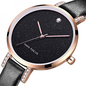 MF MINI FOCUS Women Fashion Watch with Leather Strap now 65.0% off , (Blue, Black, Alloy, Wear-Res..