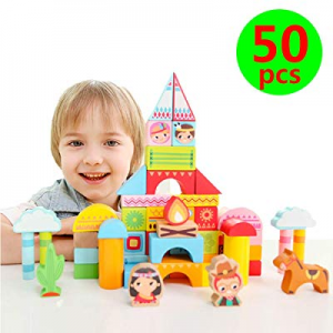 iwood Wild & West Wooden Building Blocks with Storage Bucket now 50.0% off , Classic Wooden Brick ..