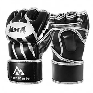 Brace Master MMA Gloves UFC Gloves Boxing Gloves for Men Women Leather More Paddding Fingerless Pu..