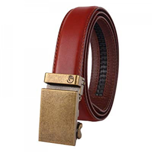 "NPET Men's Full Grain Leather Ratchet Dress Belt With Automatic Buckle 35mm Wide 1 3/8"" now 50.0% .."