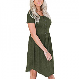 Theenkoln Women's Dress Short Sleeves Round Neck Button Casual Irregular Hem Dress now 50.0% off