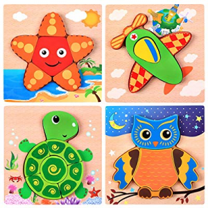 Kids Puzzles now 40.0% off ,Wooden Animal Jigsaw Puzzles, Wooden Shapes Puzzles for Toddlers 3-5 Y..