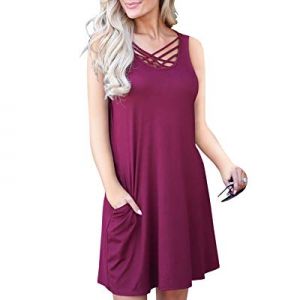 Women's V Neck Criss Cross Casual T Shirt Dress Long Sleeve Loose Tunic with Pocket now 50.0% off