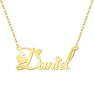 NovGarden Custom Name Necklace Personalized now 50.0% off , 18K Gold Plated Customize Nameplate Pe..