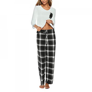 Molisry Womens Pajama Set V Neck 3/4 Sleeve Top & Pants Plaid Bottoms Sleepwear Pjs Sets now 50.0%..