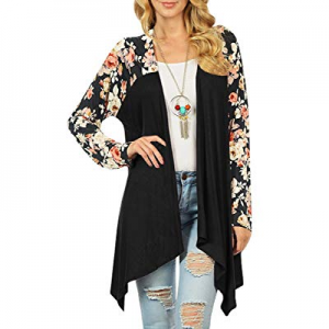 40.0% off Ferbia Womens Chiffon Blouse Cardigans Draped Open Front Floral Print Long Sleeve Asymme..