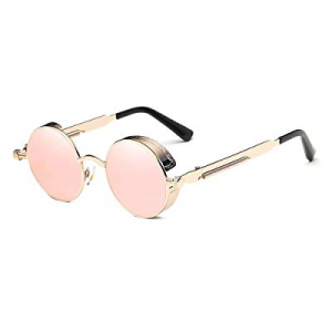 50.0% off Round Steampunk Sunglasses Polarized for Women and Men Steam Punk Circle Rose Gold Metal..