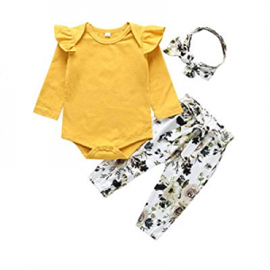 2020 Baby Girls Long Sleeve Flowers Hoodie Tops and Pants Outfit with Headband(Yellow now 15.0% of..
