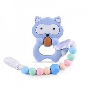 40.0% off esonstyle Teething Toys Pacifier Chain BPA Free Silicone Pain Relief Cookie Teether with..
