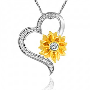 30.0% off SNZM Heart Necklace for Women -You are My Sunshine Sunflower Pendant Necklace Love Chris..