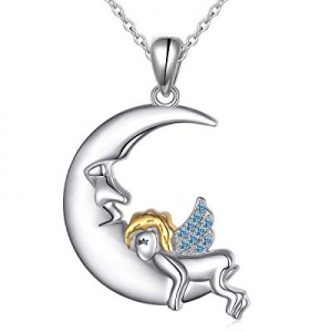 S925 Sterling Silver Angel Baby Fairy Moon Jewelry Pendant Necklace for Women Princess Gifts now 5..