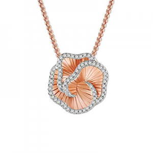 SNZM Flower Necklace Rose Gold 3D Love Rose Pendant Necklace with Cubic Zirconia Crystals Jewelry ..