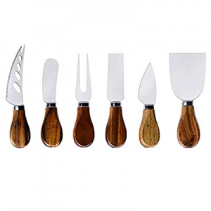 Cheese Knife Set-6 Pieces Cheese Knives with Bamboo Wood Handle Steel Stainless now 30.0% off ,Che..
