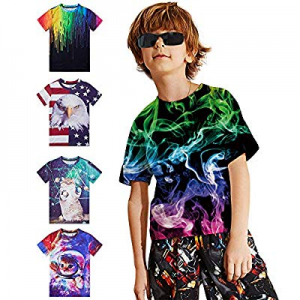 50.0% off TUONROAD Original Boys Girls T-Shirt 3D Graphic Novelty Kids Teens Shirt Elastic Smooth ..