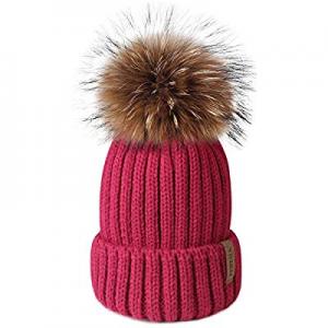 FURTALK Winter Knit Hat Detachable Real Raccoon Fur Pom Pom Womens Girls Warm Knit Beanie Hat now ..