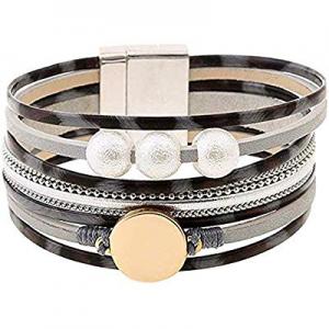 Leopard Bracelets for Women Metal Pipe Charm Multilayer Wide Leather Wrap Bracelet now 70.0% off
