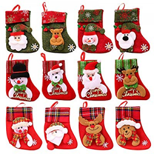 JPARR Mini Christmas Stockings now 40.0% off , 12 Pack Different Design 6.25 inches Felt Small Chr..
