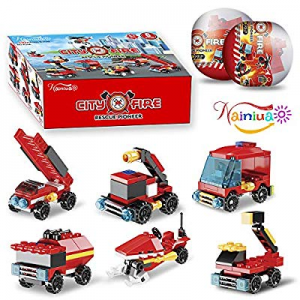 222Pcs Fire Rescue Vehicles Building Blocks Set  now 70.0% off , 6 Different Models filled in 6 Ea..