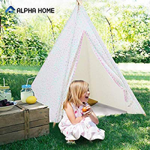 One Day Only!50.0% off ALPHA HOME Teepee Tent for Kids Canvas Childs Play Teepee Tent Indoor & Out..