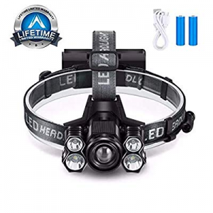 Lihebcen Rechargeable Headlamp now 40.0% off , 10000 Lumens IPX5 Waterproof LED Headlamp with 5 Wo..