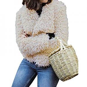 47.0% off CNFIO Cardigan for Women Fuzzy Fleece Sherpa Jacket Coat Long Sleeve Open Front Shaggy S..