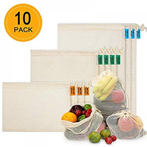 Reusable Produce Bags 10 PCS now 45.0% off , Organic Cotton Mesh Bags for Fruit and Veg Grocery Sh..