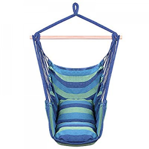 Teeker Cotton Hanging Rope Distinctive Cotton Canvas Hanging Rope Chair with Pillows (Blue) now 80..
