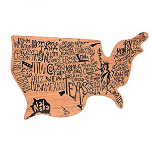 Bamboo Wood Cutting Board Shaped Like The USA | for Chopping now 45.0% off , Serving and Decor - A..