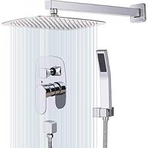 40.0% off CWM 12 Inches Wall Mount Shower System Bathroom Shower Faucet Sets with Rainfall Mixer S..