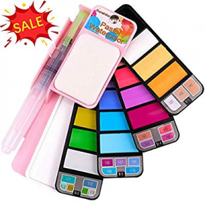 Sunshilor Pastel Watercolor Paint Set - 18 Assorted Colors with Brush now 52.0% off , Foldable Por..