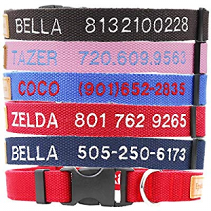 Egoola Personalized Dog Collar now 50.0% off , Custom Embroidered ID Collars with Pet Name and Pho..