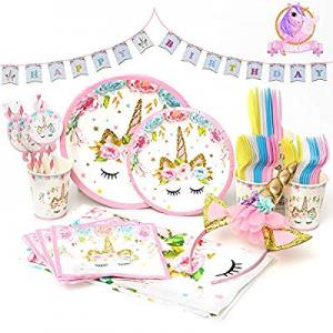 Qivange Unicorn Party Supplies - 164 Pcs Unicorn Themed Party Favor Set for Kids Girls - Unicorn P..