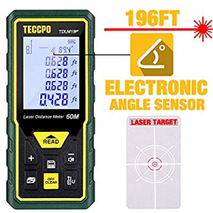 Laser Measure Advanced 196Ft TECCPO now 40.0% off , Mute Laser Distance Meter with Electronic Angl..