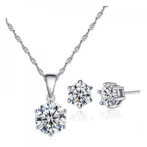 PIKAJIU Women Necklace Set Charm Pendant Jewelry Gifts Necklace Ear Stud (Silver) now 80.0% off