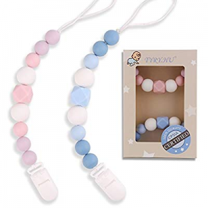 TYRY.HU Pacifier Clips Silicone Teething Beads BPA Free Binky Holder for Girls now 40.0% off , Boy..