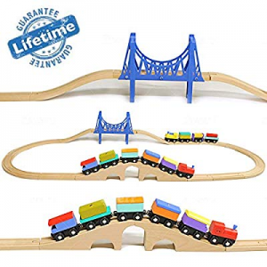 Elk & Bear Wooden Train Cars Railroad Tracks for Kids now 50.0% off , Toddler Toys, Boys, Girls, M..