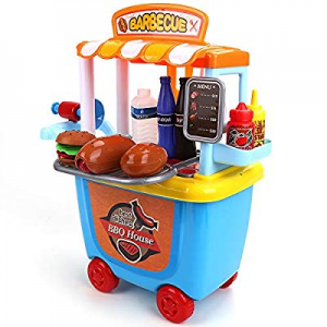 DricRoda BBQ Cart Toy Trolley now 30.0% off , 33 PCS Food Truck, Snack Play Store, Pretend Play Fo..