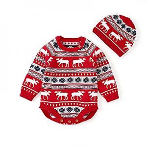 80.0% off Exlura 2PCS Christmas Baby Christmas Onesie Rompers Hat Set Long Sleeve Reindeer Print G..