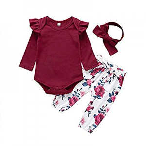 2020 Baby Girls Long Sleeve Flowers Hoodie Tops and Pants Outfit with Headband(Red,80 (3-6 Months)..