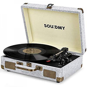 Souidmy Vinyl Record Player now 20.0% off , Bluetooth Turntable with Speakers, 3-Speed, AUX/Headph..