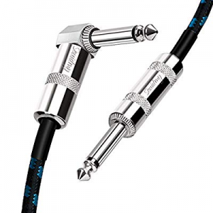 Souidmy Guitar Cable now 50.0% off , 10ft Right Angle to Straight 1/4 Inch TS Plug, Tweed Woven In..