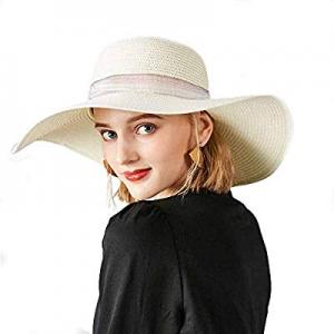 Womens Summer Sun Beach Straw Hat UPF 50 Packable Cap for Travel now 50.0% off