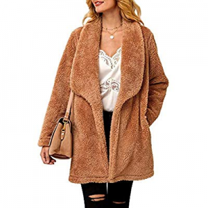 Ferbia Women Faux Fur Jacket Fluffy Fuzzy Lapel Open Front Coat Long Sleeve Thick Warm Outwear now..
